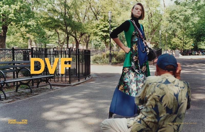 Cara Taylor strikes a pose in Diane von Furstenberg's fall-winter 2017 campaign