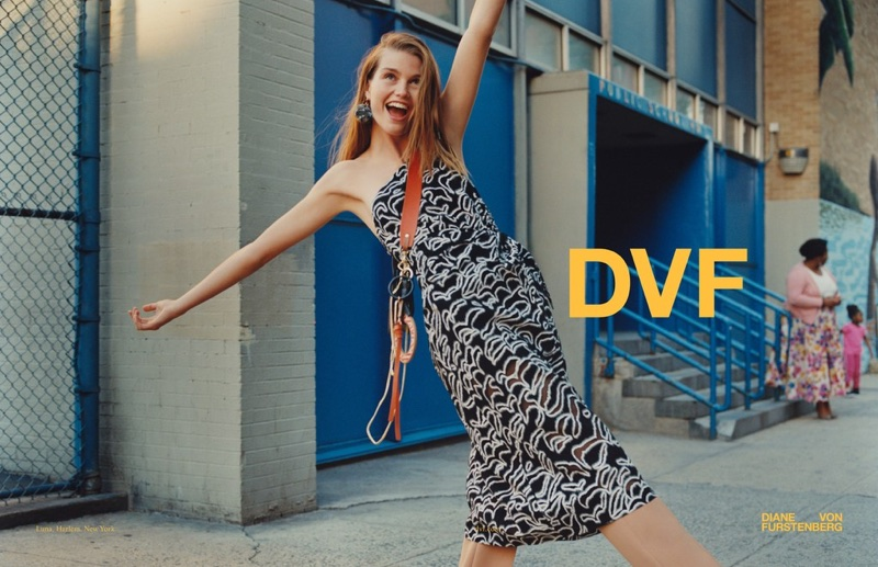 Luna Bijl wears DVF's signature prints for the brand's fall-winter 2017 campaign