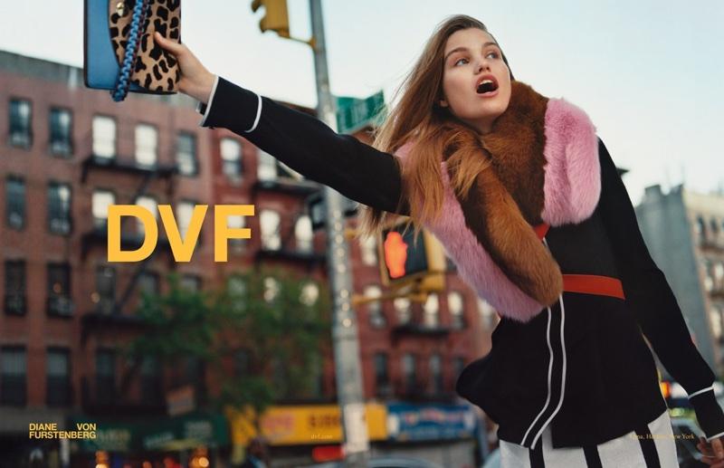 Luna Bijl flags a cab in Diane von Furstenberg's fall-winter 2017 campaign