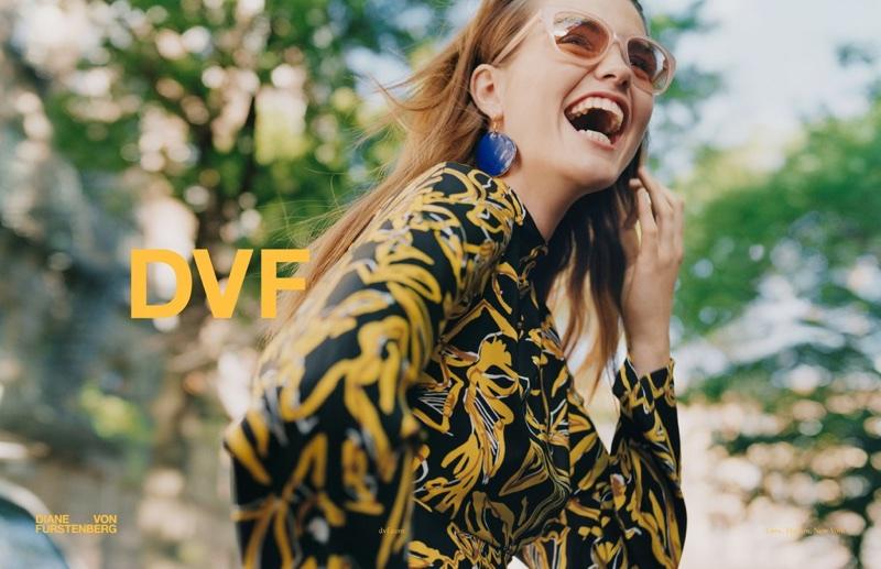 Luna Bijl is all smiles at Diane von Furstenberg's fall-winter 2017 campaign