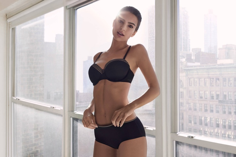 Emily Ratajkowski poses in black bra and panty set from DKNY Intimates' fall-winter 2017 collection