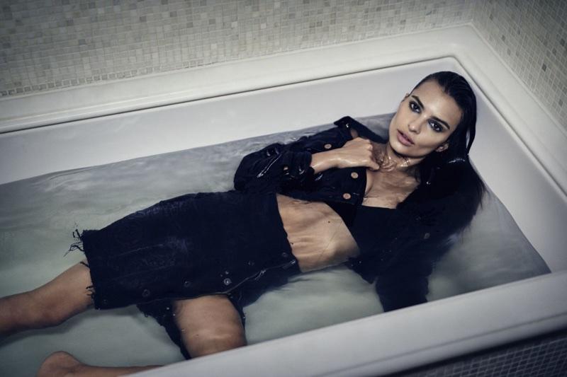 Posing in a bath tub, Emily Ratajkowski models denim for DL1961's fall-winter 2017 campaign