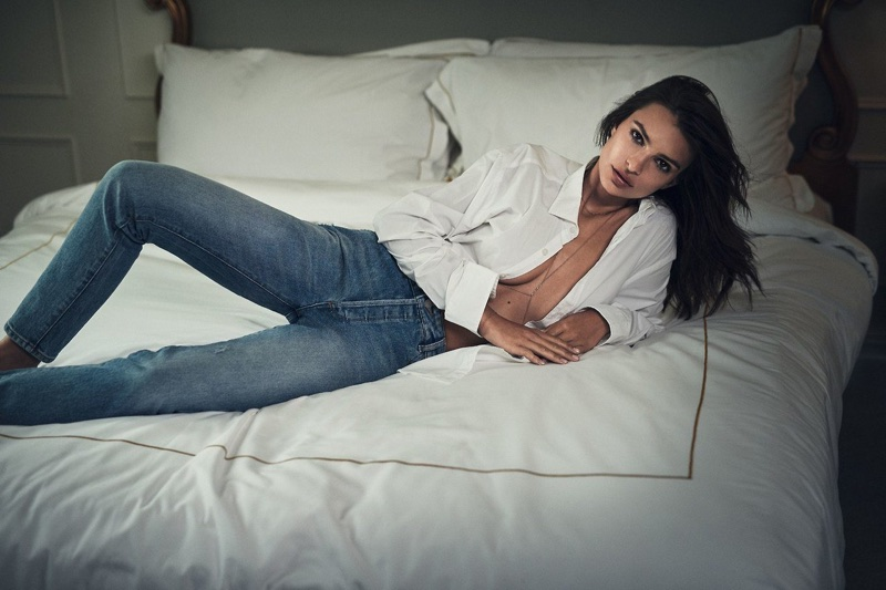 Model Emily Ratajkowski wears a white shirt and jeans for DL1961's fall-winter 2017 campaign