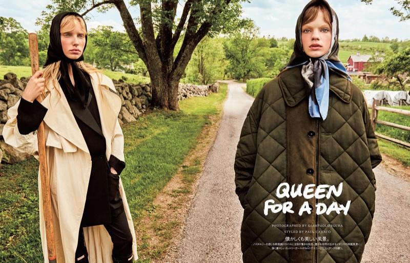 Estella Boersma & Jessie Bloemendaal Model Rustic Fashions for Vogue Japan