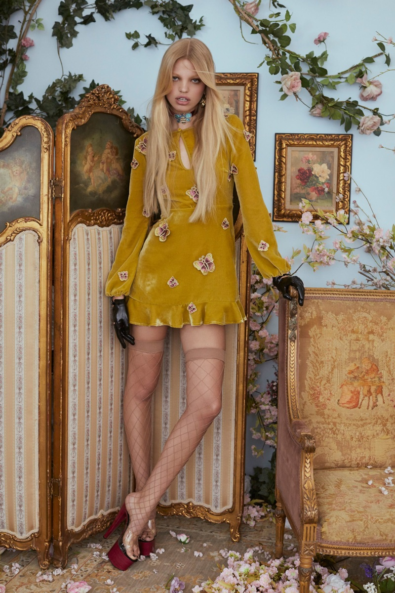 Daphne Groeneveld wears For Love & Lemons Papillion mini dress