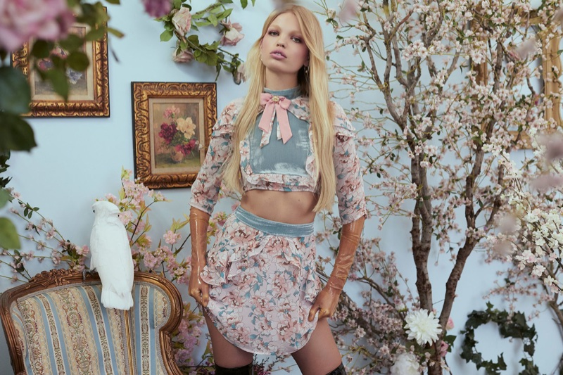 For Love & Lemons Blossom crop top and Blossom mini skirt from fall 2017 collection