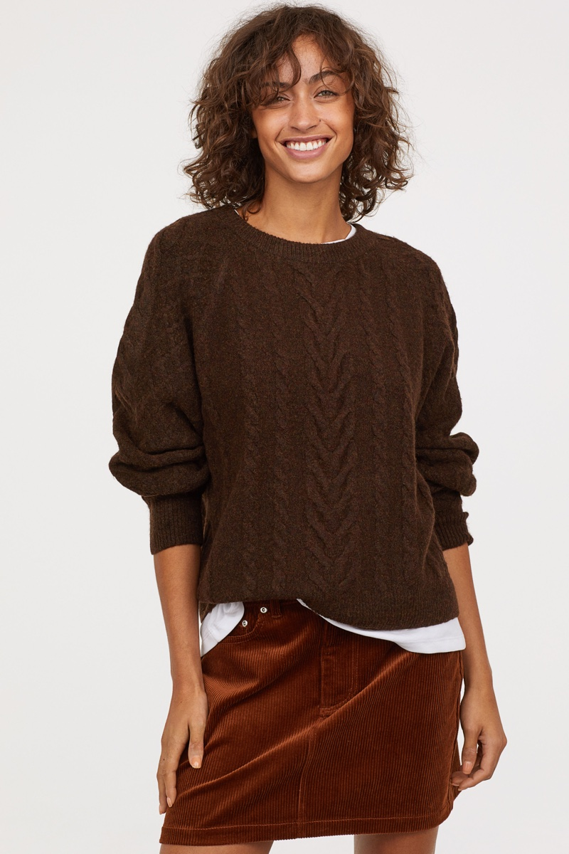 H&M Cable-Knit Sweater in Dark Brown Melange $34.99