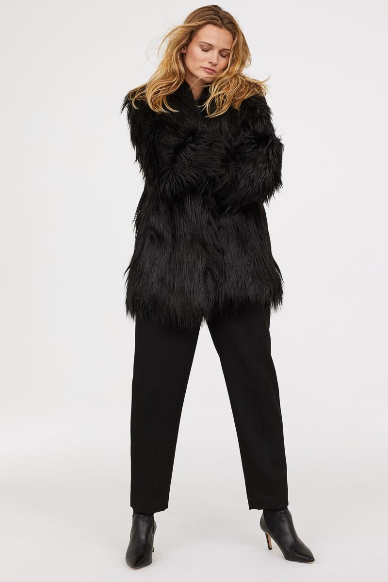 H&M Faux Fur Coat in Black $99