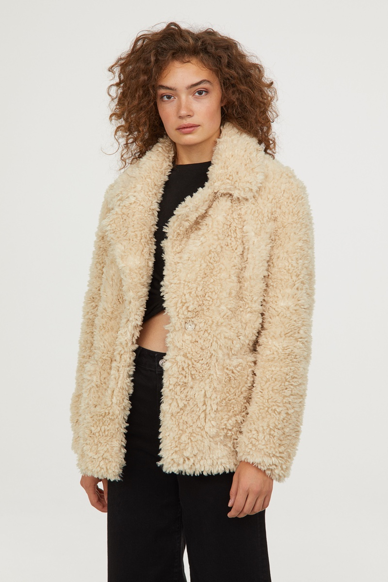 H&M Faux Fur Jacket in Natural White $49.99