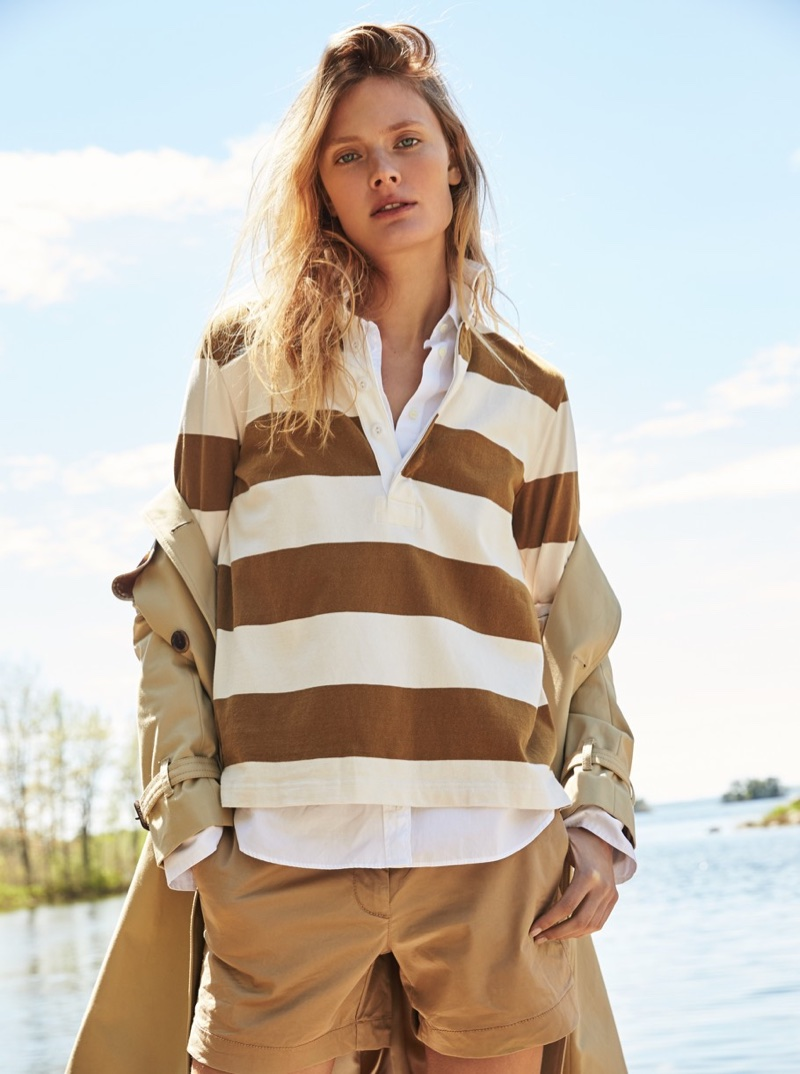 """J. Crew The 1984 Rugby Shirt in Stripe, 3"""" Stretch Chino Short, Icon Trench Coat and Thomas Mason for J. Crew Boy Shirt"""