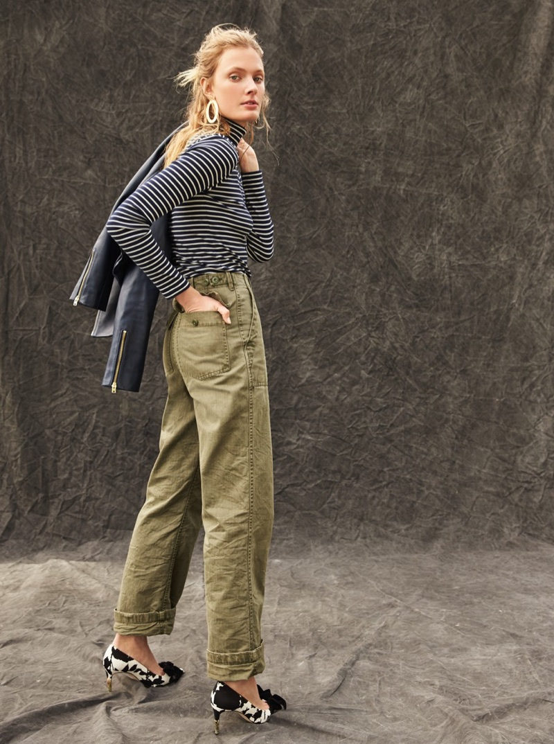 J. Crew Perfect-Fit Turtleneck in Stripe, The 2011 Foundry Pant, Lucie Bow Pumps in Floral Shadow and Oval Gold Earrings