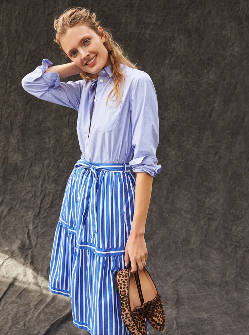 J. Crew Boyfriend Button-Up Shirt, Button-Front Striped Skirt and Academy Loafers in Leopard Calf Hair