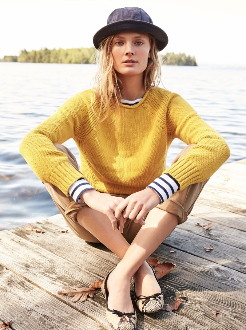 J. Crew The 1988 Rollneck Sweater, Saint James for J. Crew Slouchy T-Shirt, J. Crew 770 Straight-Fit Pant in Broken-In Chino and Lily Ballet Flats in Snakeskin-Printed Leather