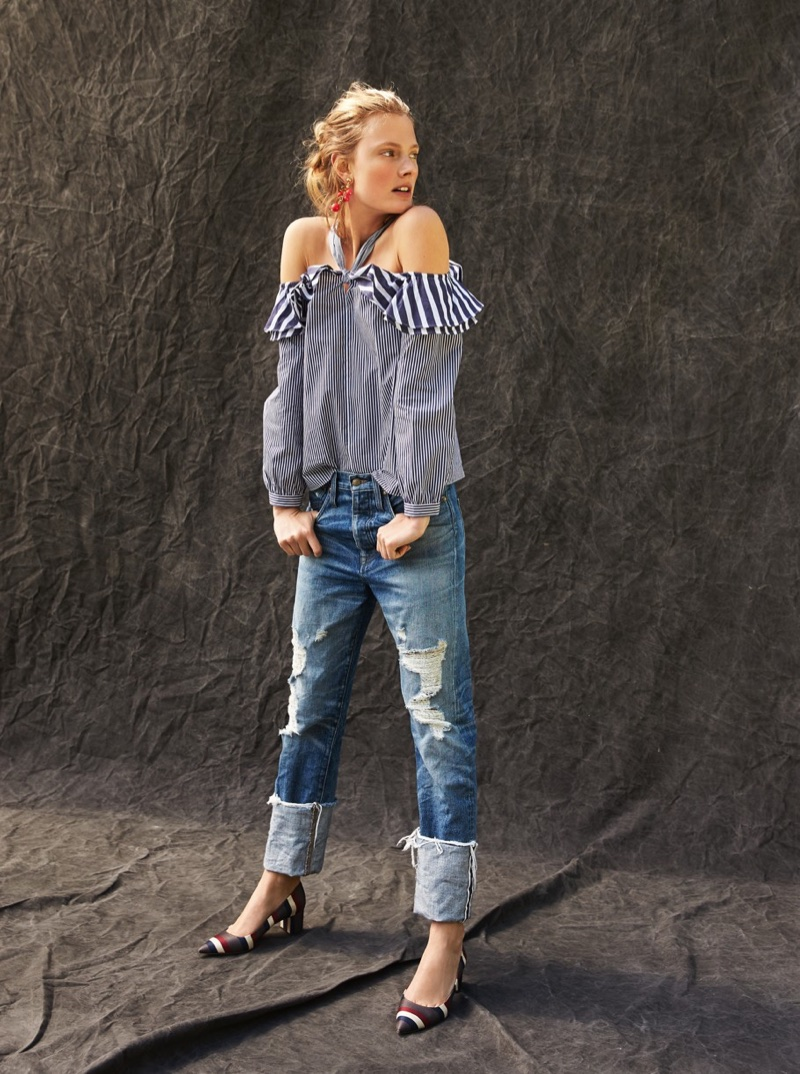 J. Crew Striped Off-the-Shoulder Tie-Neck Top, Point Sur Distressed Selvedge Jean with Long Cuff, Peapod Earrings and Avery Striped Pumps