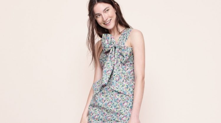 J. Crew One-Shoulder Tie Dress in Liberty Claire-Aude Floral and Satin Slides with Floral Embellishments