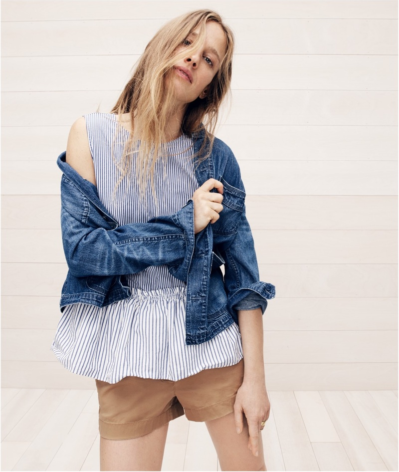 """J. Crew Denim Chore Jacket with Patch Pockets, Button-Back Striped Peplum Top and 3"""" Stretch Chino Short"""