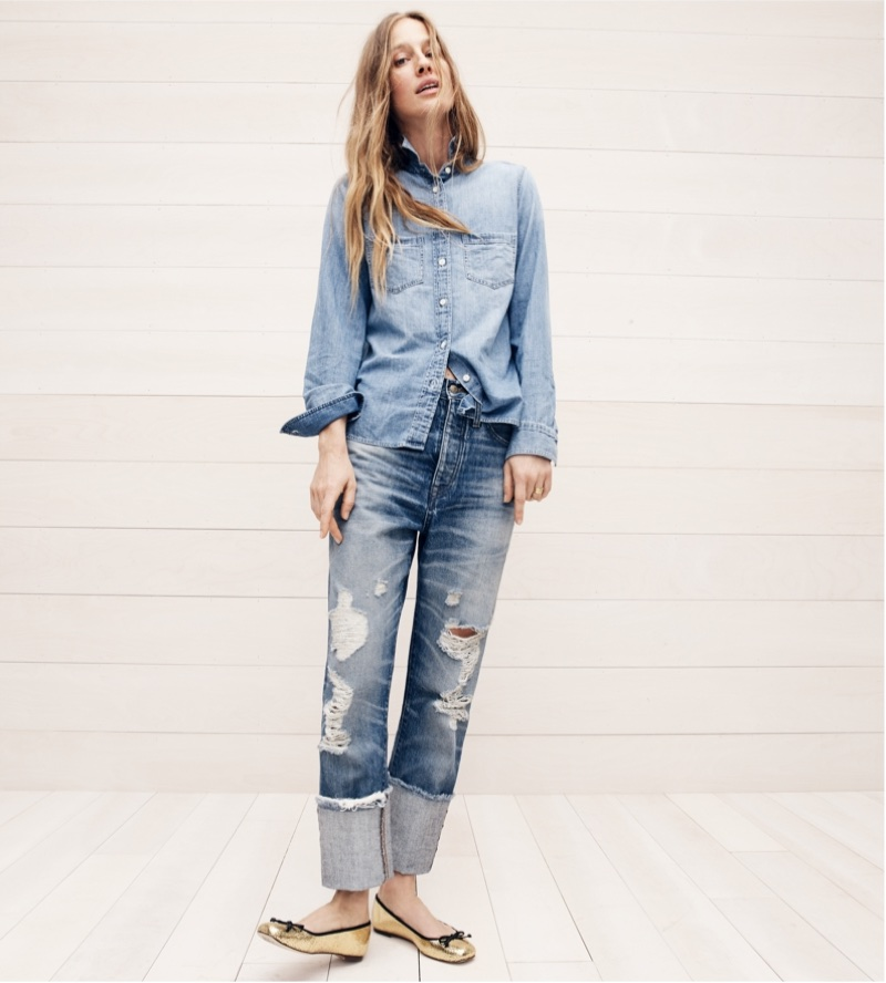 J. Crew Everyday Chambray Shirt, Point Sur Distressed Selvedge Jean with Long Cuff and Lily Ballet Flats in Crackled Leather