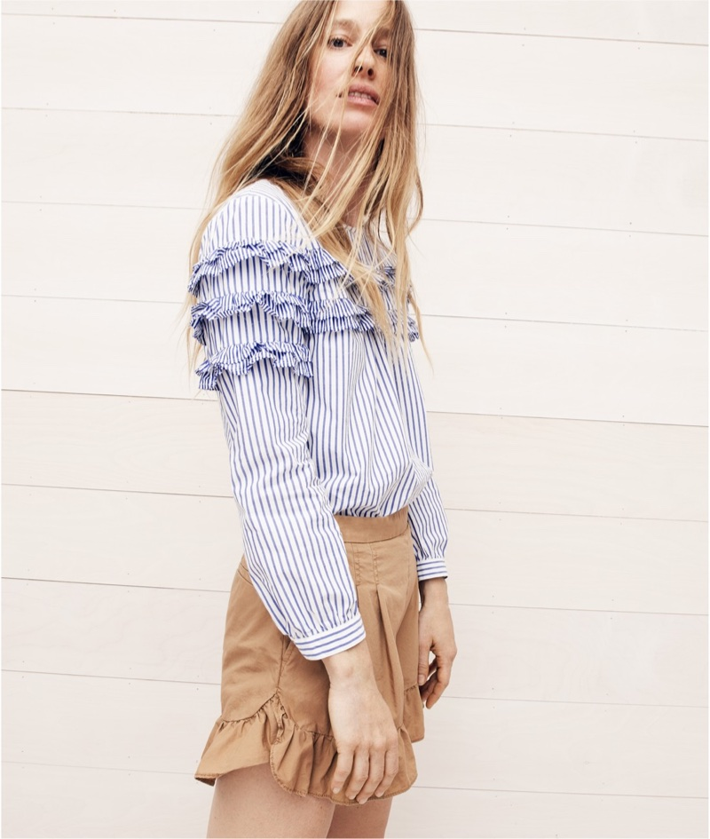 J. Crew Tiered Top in Mixed Stripes and Ruffle Khaki Short