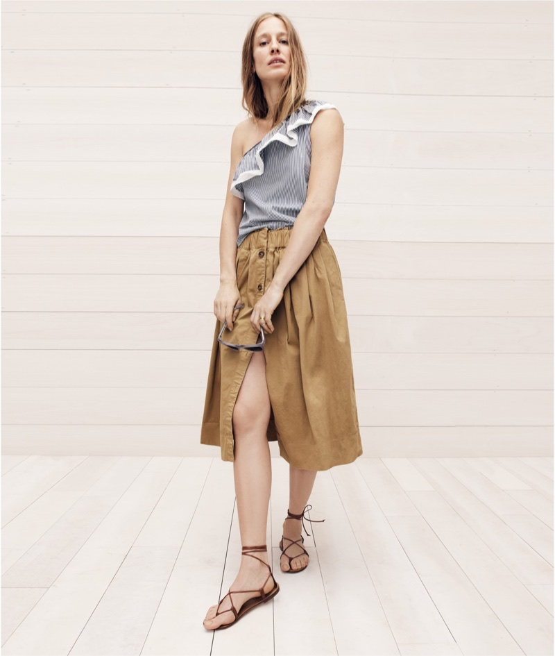 J. Crew One-Shoulder Ruffle Top in Stripe, Button-Front Chino Skirt, Leather Lace-Up Sandals and Betty Sunglasses