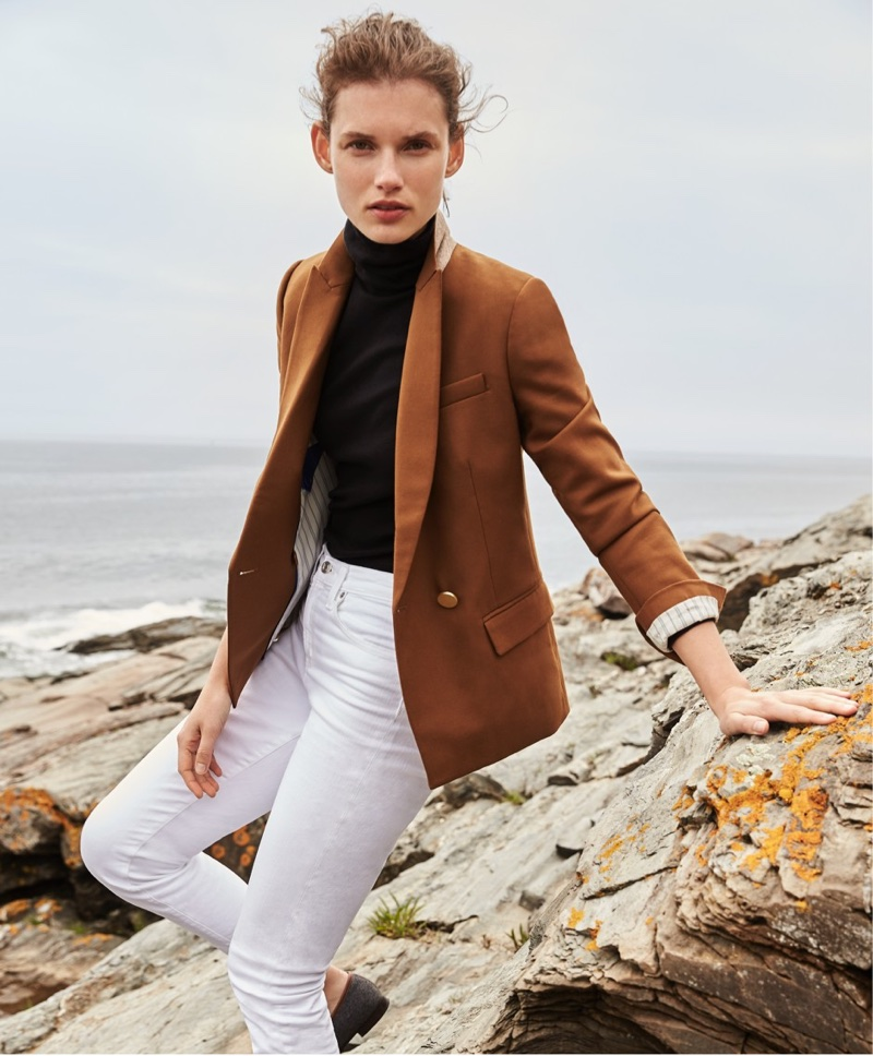"""J. Crew Dover Blazer in Italian Wool, Perfect-Fit Turtleneck, 9"""" High-Rise Toothpick Jean in White and Academy Loafers in Flannel"""