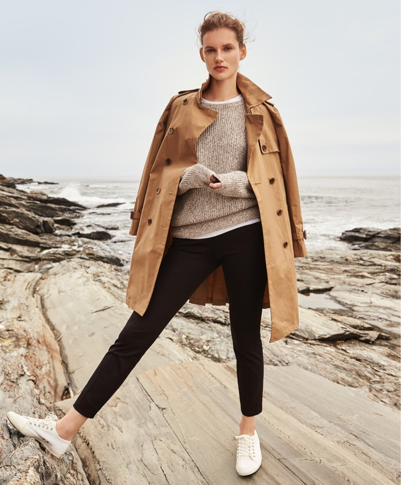J. Crew Pleated Trench Coat, New Vintage Cotton T-Shirt, Marled Cotton Crewneck Sweater, Martie Slim Crop Pant and Tretorn Canvas T56 Sneakers