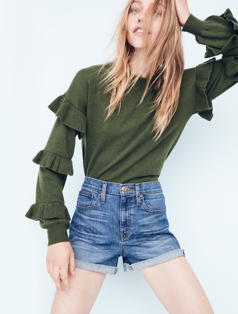 ... J. Crew Sweater with Ruffle Sleeves and High-Rise Denim Short in  Brixton Wash 5c27e8728c46