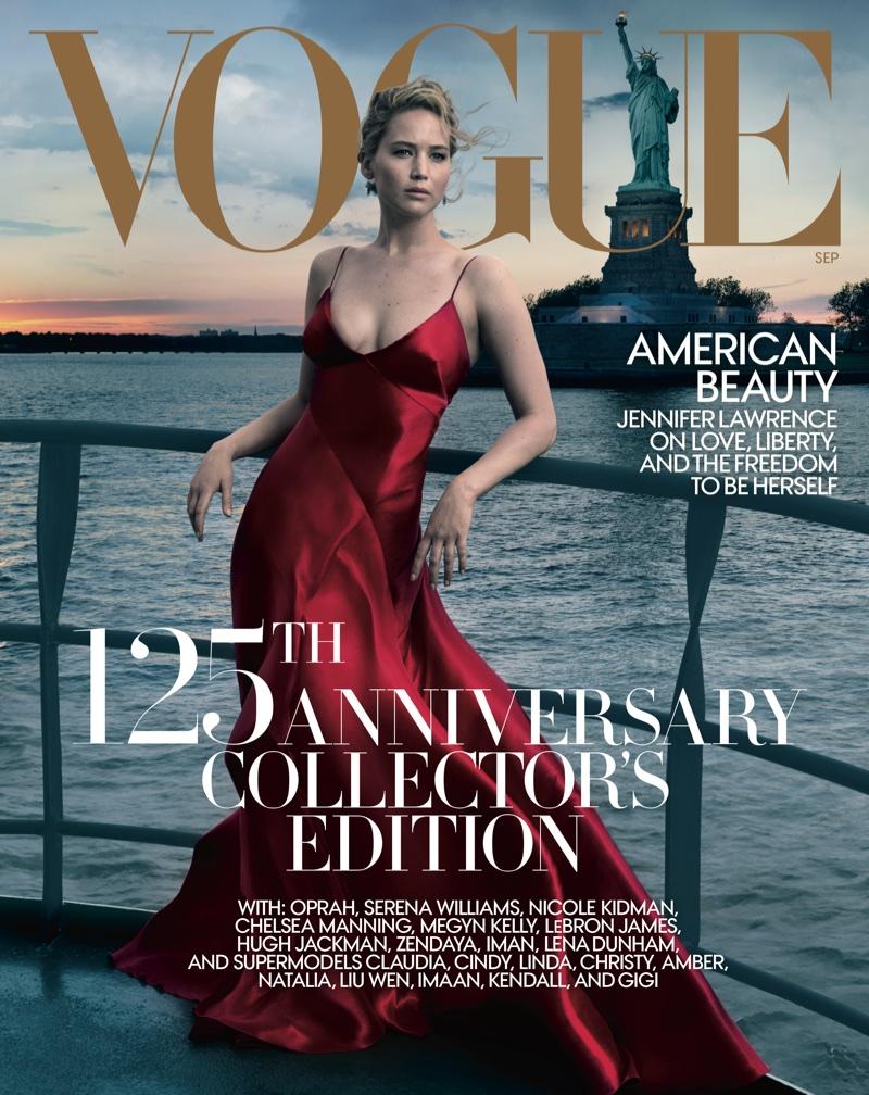 Jennifer Lawrence on Vogue US September 2017 Cover. Photo: Annie Leibovitz