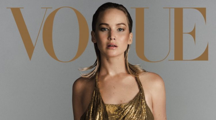 Jennifer Lawrence poses in Versace dress. Photo: Vogue/Inez & Vinoodh