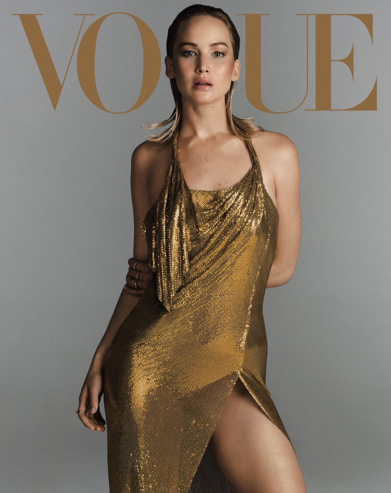 Jennifer Lawrence poses in Versace dress. Photo: Vogue/Inez & Vinoodh