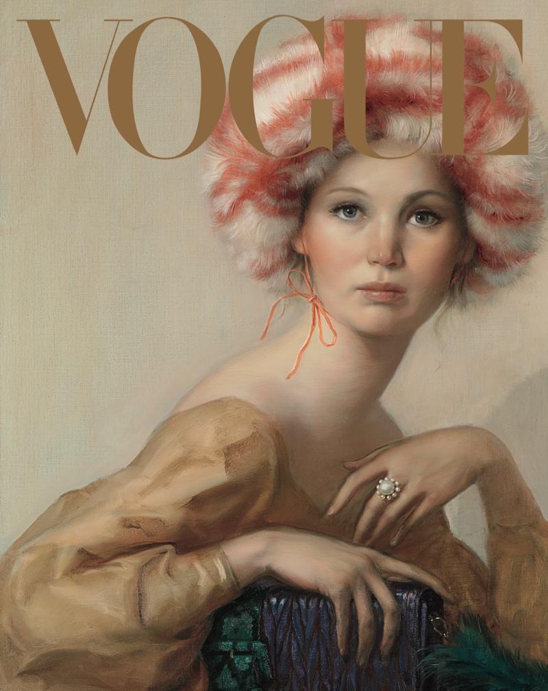 Jennifer Lawrence in Miu Miu dress, hat and bag. Photo: John Currin/Vogue