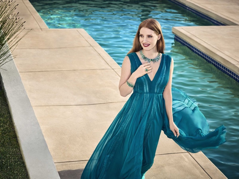Posing poolside, Jessica Chastain fronts Piaget Jewelry campaign