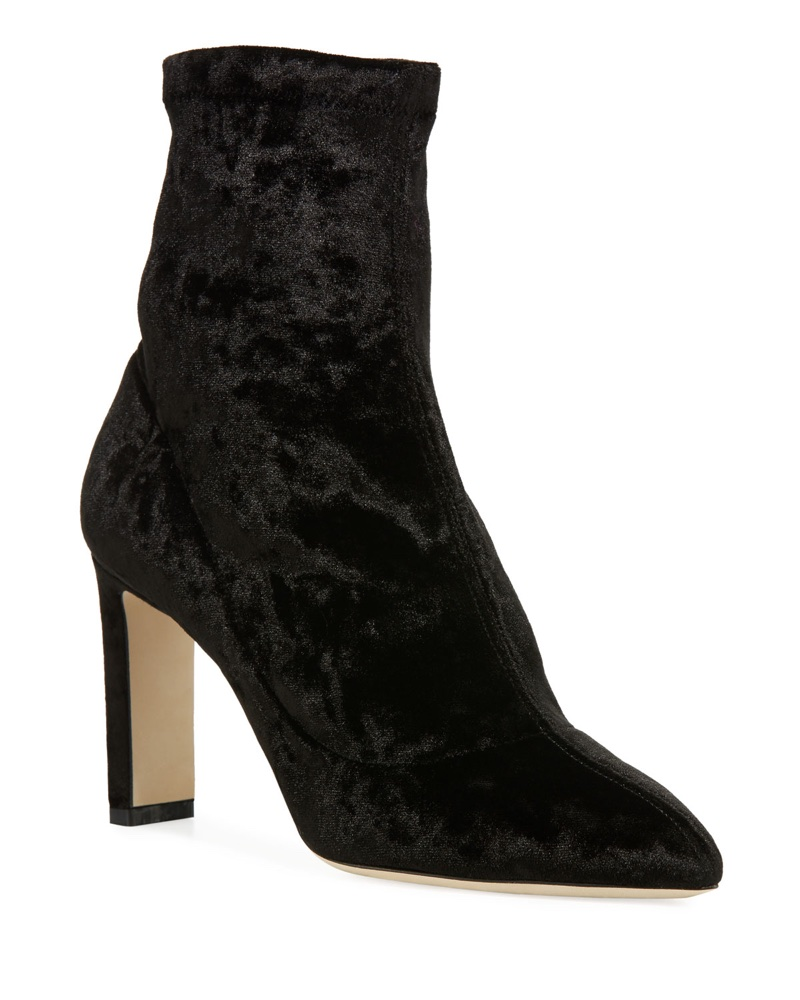Jimmy Choo Louella Stretch-Velvet Bootie $895