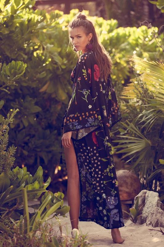 Josephine Skriver models printed maxi dress from Agua Bendita