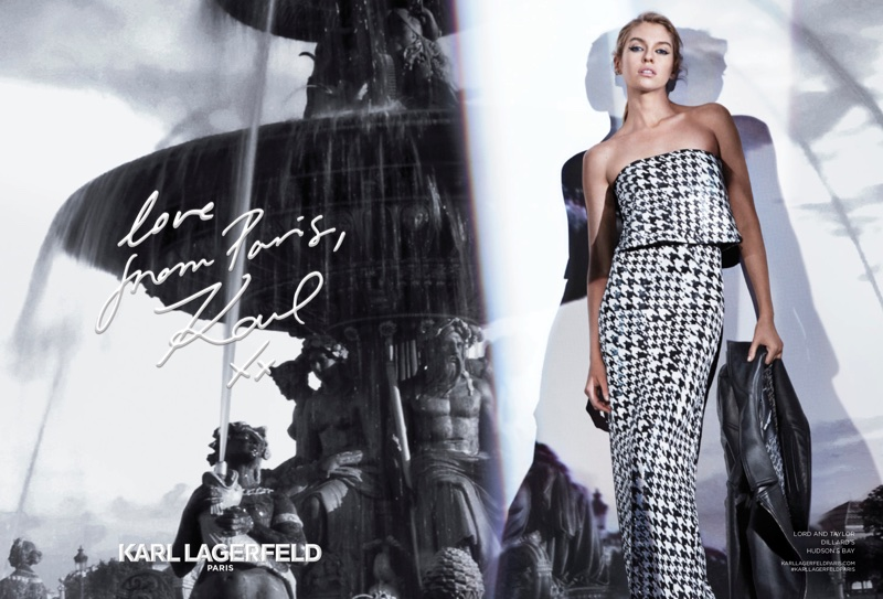 Stella Maxwell poses in houndstooth print dress for Karl Lagerfeld's fall-winter 2017 campaign