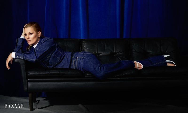 Kate Moss Poses in Calvin Klein for Harper's Bazaar