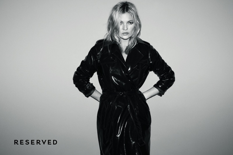 Supermodel Kate Moss wears a coat in Reserved's fall-winter 2017 campaign