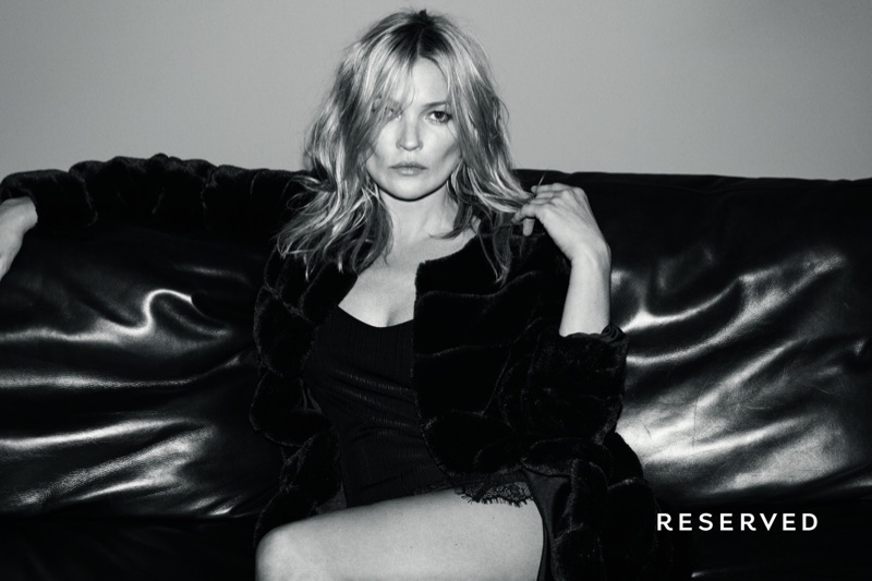 Wearing a lingerie inspired look, Kate Moss stars in Reserved's fall-winter 2017 campaign