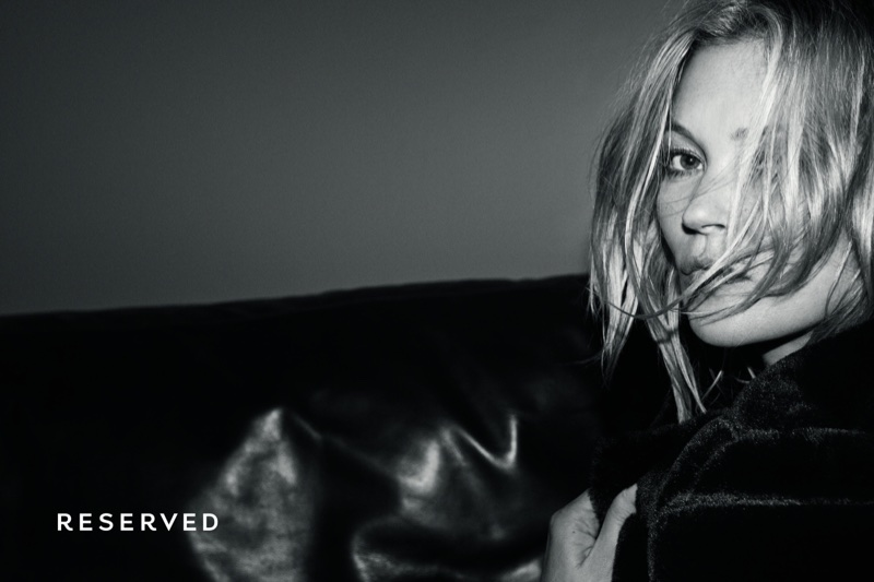 Captured in black and white, Kate Moss stars in Reserved's fall-winter 2017 campaign