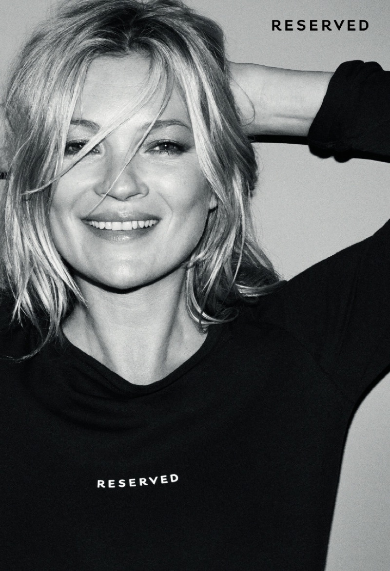 Supermodel Kate Moss flashes a smile in Reserved's fall-winter 2017 campaign