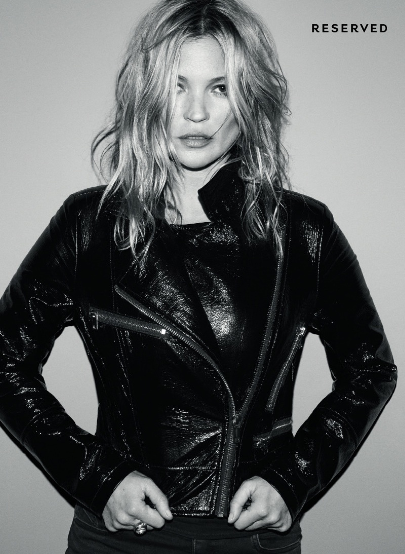 Kate Moss poses in a leather moto jacket for Reserved's fall-winter 2017 campaign
