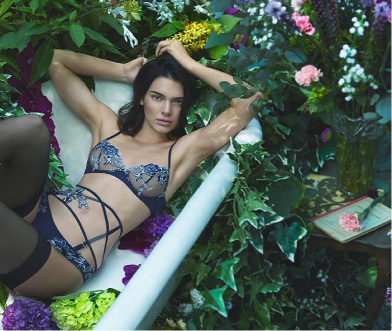 Model Kendall Jenner poses in lingerie for La Perla's fall-winter 2017 campaign
