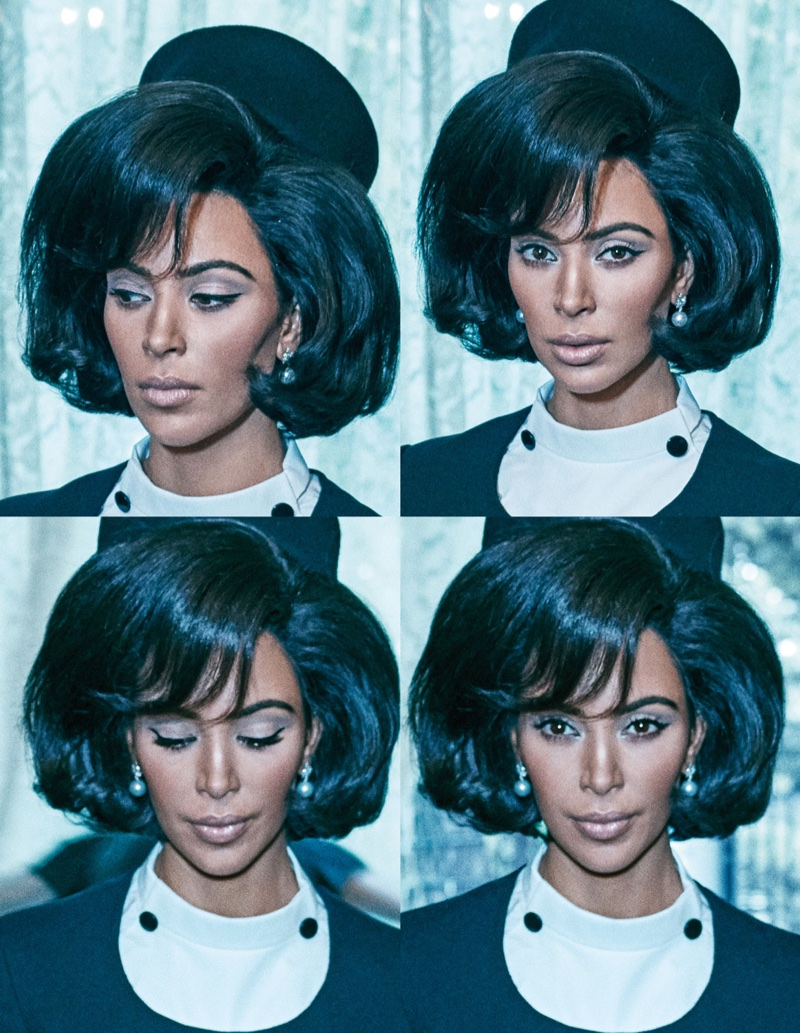 Wearing a bouffant hairstyle, Kim Kardashian wears a 60's inspired look