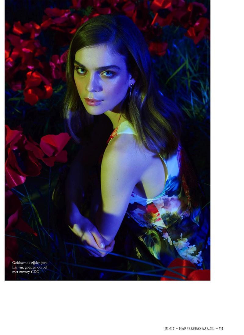 Kim Noorda Embraces Floral Fashion in Harper's Bazaar Netherlands