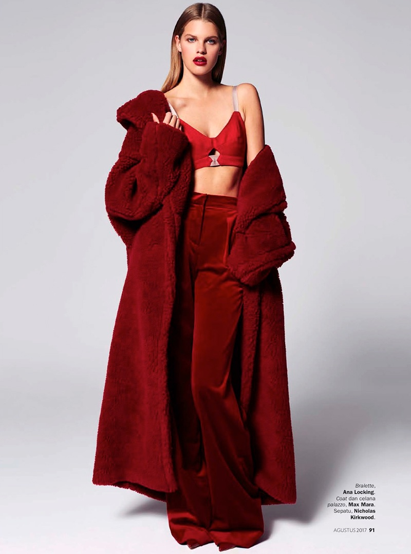 Kim Riekenberg Models Red-Hot Fashions in Marie Claire Indonesia