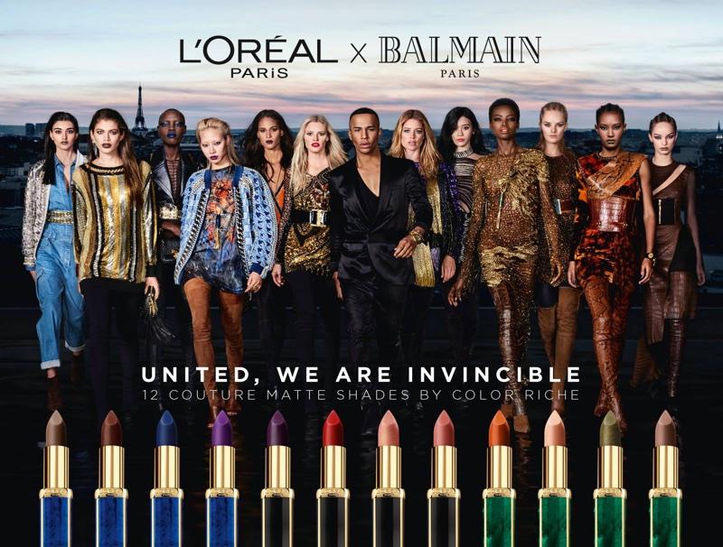 L'Oreal Paris x Balmain lipstick campaign