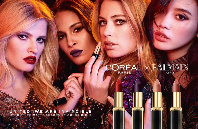 Lara Stone, Cindy Bruna, Doutzen Kroes and Ming Xi star in L'Oreal Paris x Balmain lipstick campaign