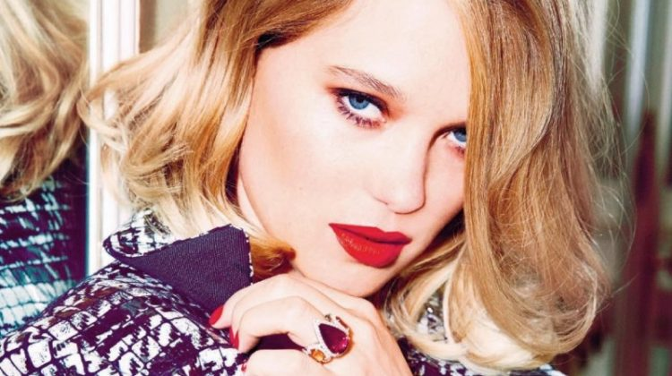 Actress Lea Seydoux wears a vibrant red lipstick shade