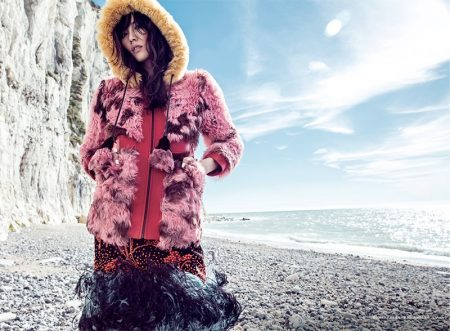 Liu Wen Models Colorful Fall Furs for ELLE China