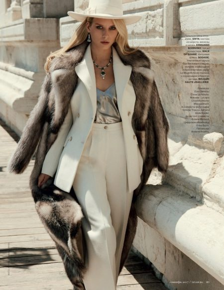 Lottie Moss Models Luxe Autumn Looks in Tatler Russia