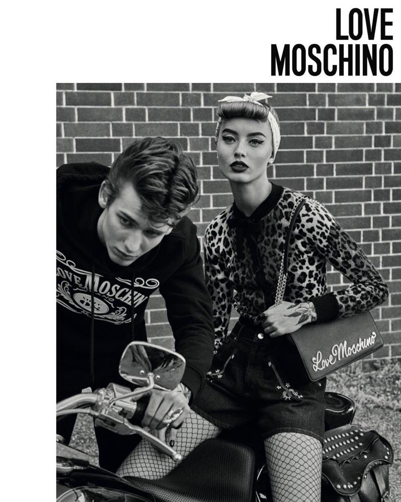 Giulia Maenza and Kristian Einla star in Love Moschino's fall-winter 2017 campaign